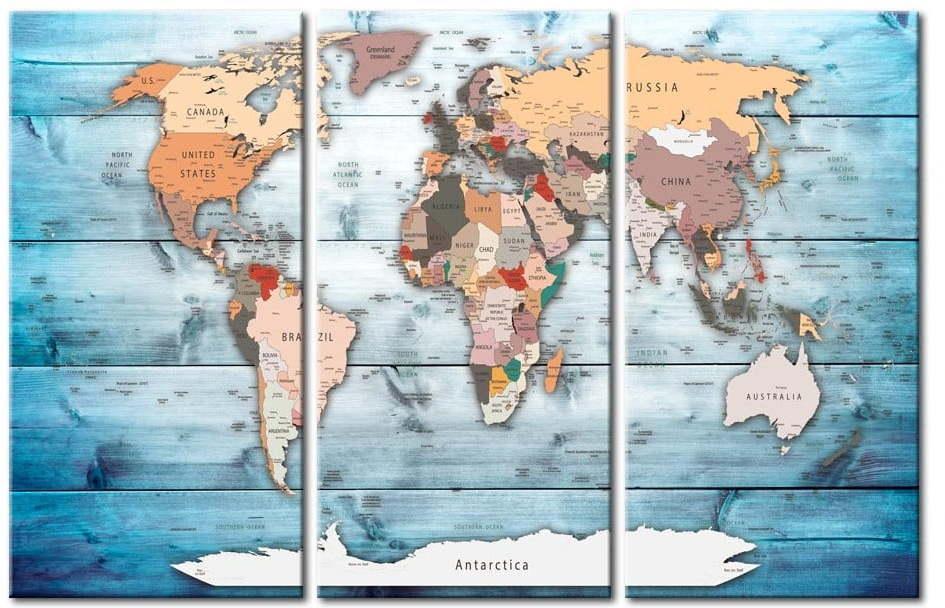Nástenka s mapou sveta Bimago Sapphire Travels 120 × 80 cm