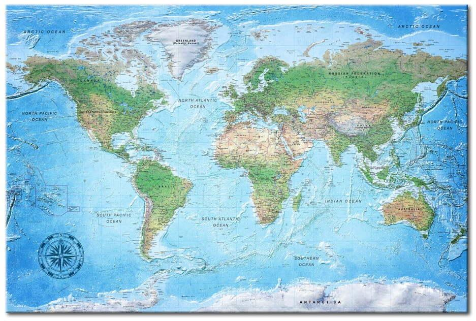 Nástenka s mapou sveta Bimago Traditional Cartography 90 × 60 cm