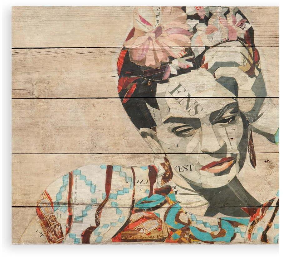 Nástenná ceduľa z borovicového dreva Madre Selva Collage of Frida, 40 × 60 cm