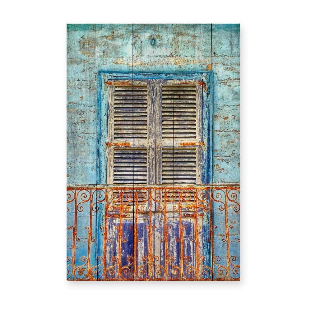 Nástenná ceduľa z borovicového dreva Really Nice Things Balcony, 40 × 60 cm