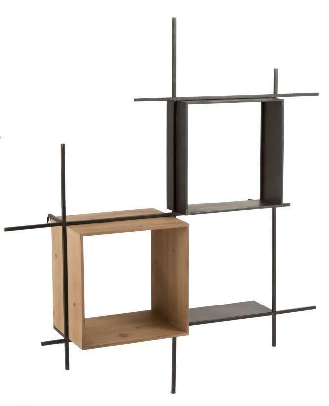 Nástenná čierna kovovo-drevená polica Compart - 114 * 29 * 128cm