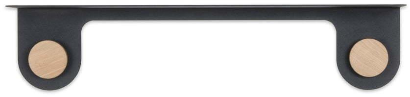 Nástenná čierna polica z ocele s detailom z dubového dreva s 2 háčikmi Gazzda Hook, dĺžka 60 cm