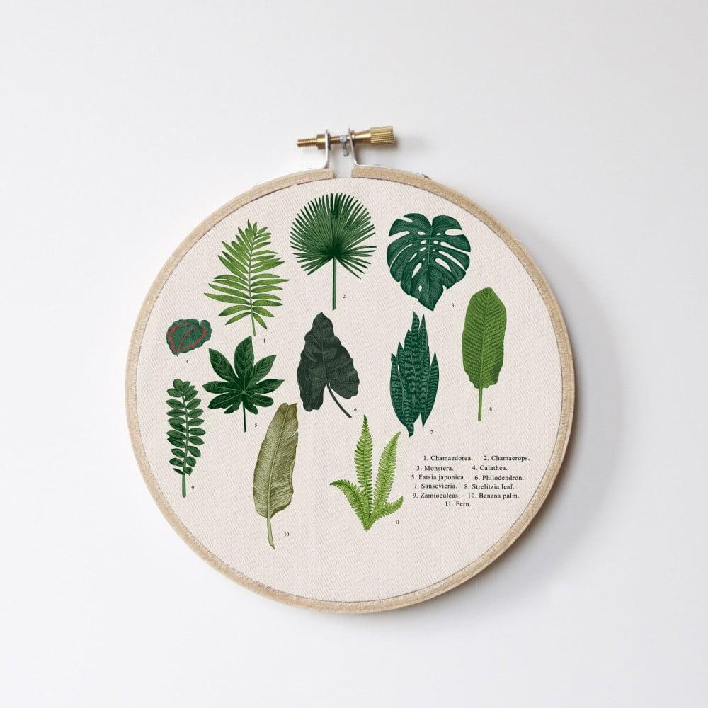 Nástenná dekorácia Surdic Stitch Hoop Leafes Index, ⌀ 27 cm