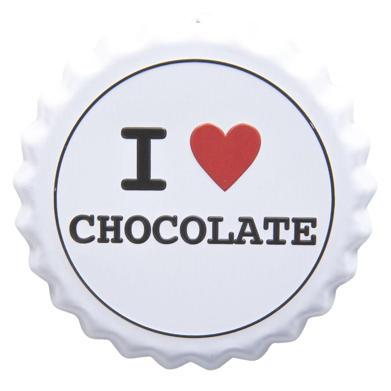 Nástenná plechová cedule I love chocolate - Ø 13 cm