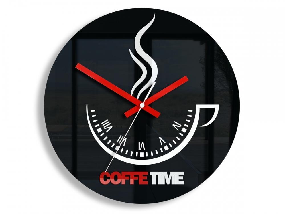 Nástenné hodiny Coffe Time čierne