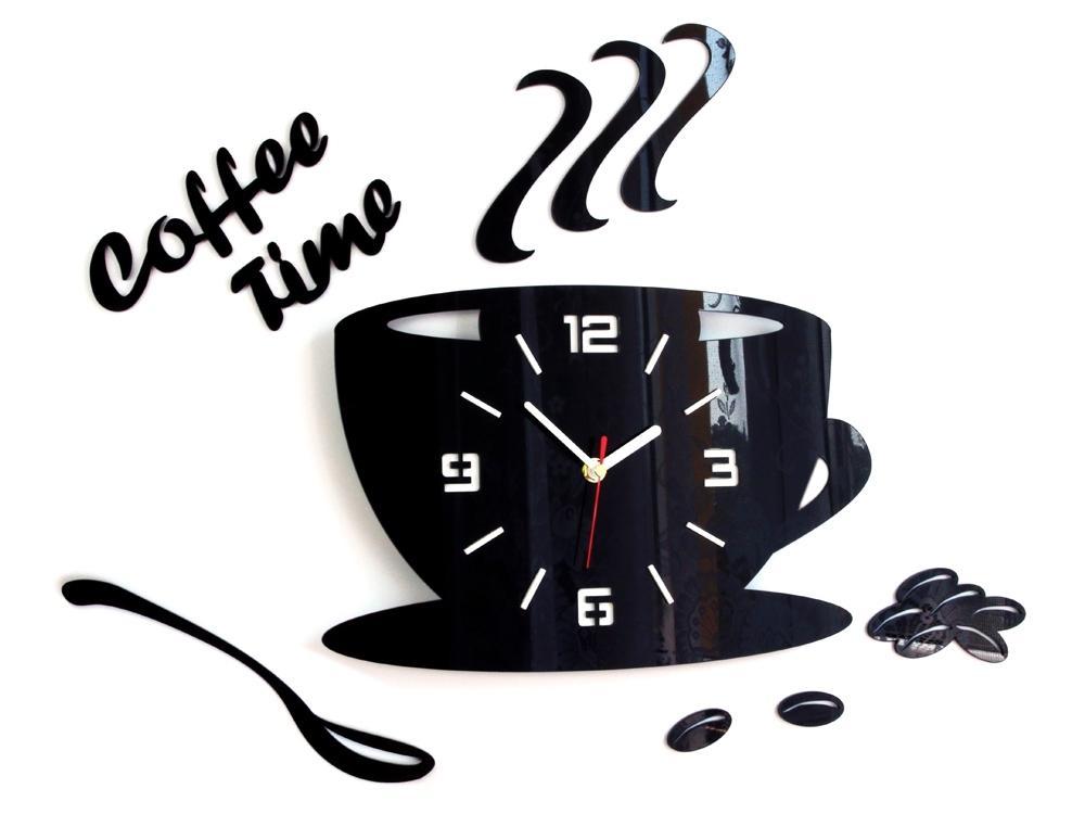 Nástenné hodiny Coffee čierne
