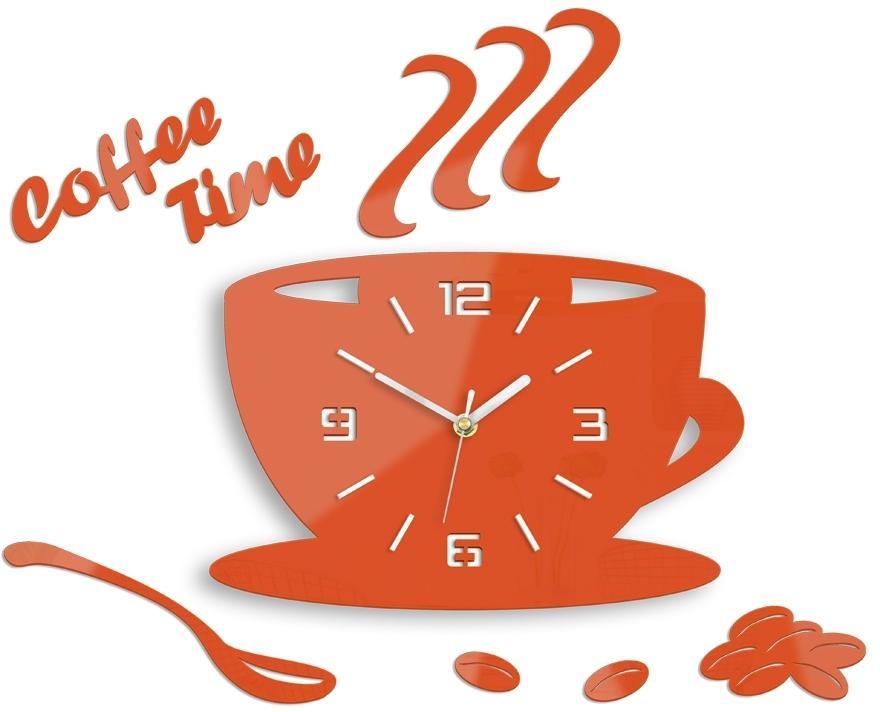 Nástenné hodiny Coffee oranžové