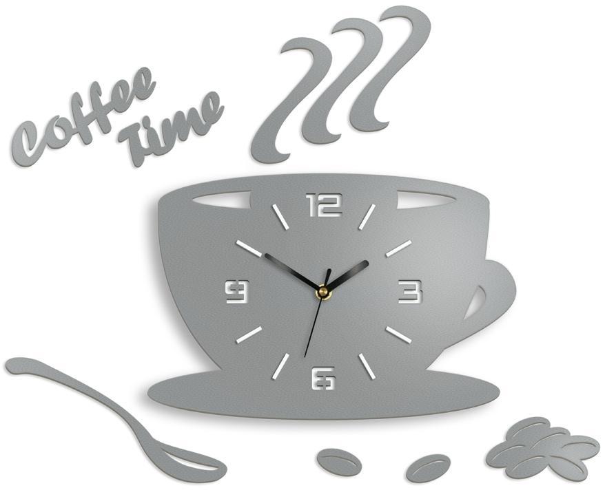 Nástenné hodiny Coffee svetlo šedé