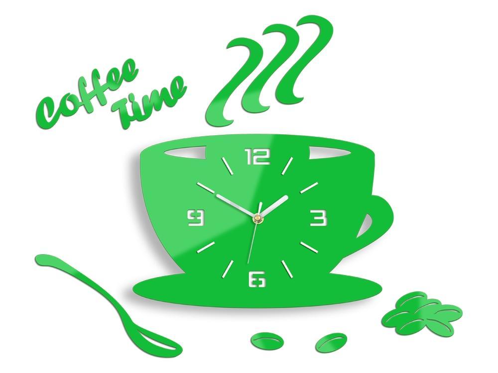 Nástenné hodiny Coffee zelené