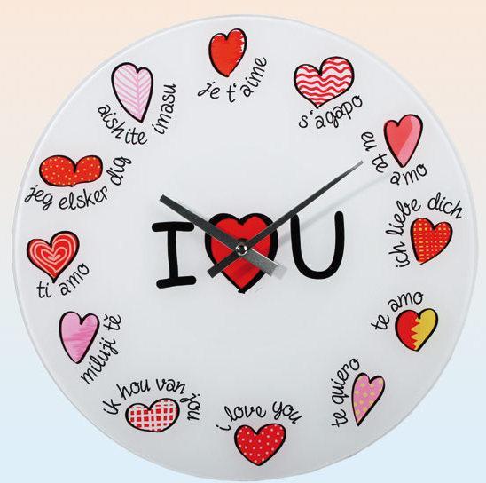 Nástenné hodiny I Love you, 30cm