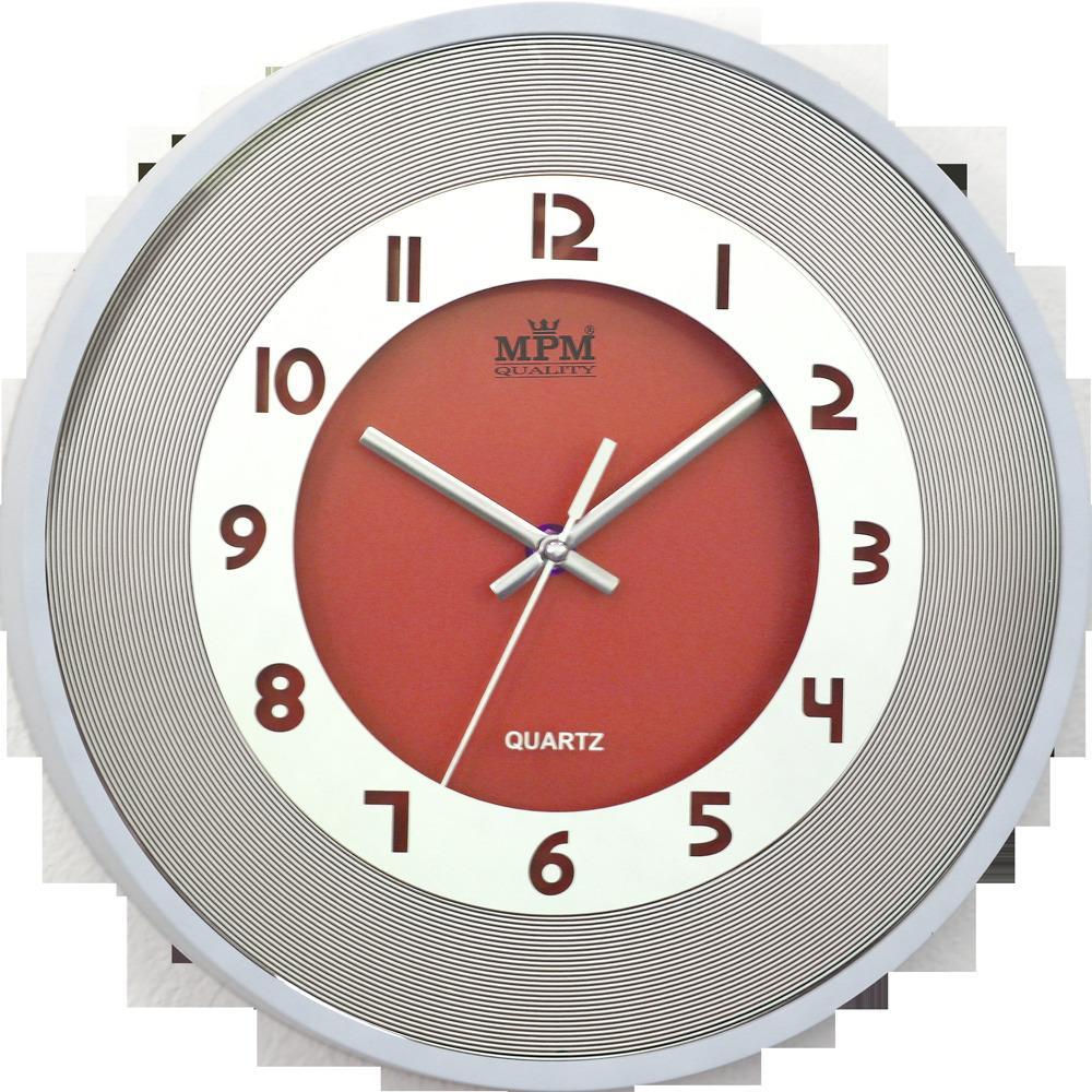 Nástenné hodiny MPM, 2523.6000 - oranžová/biela, 31cm