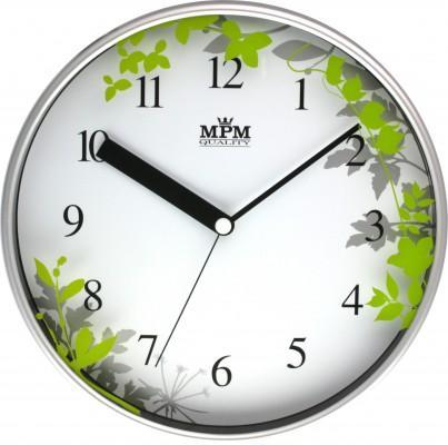 Nástenné hodiny MPM, 3087.7240 - strieborná matná/zelená, 30cm