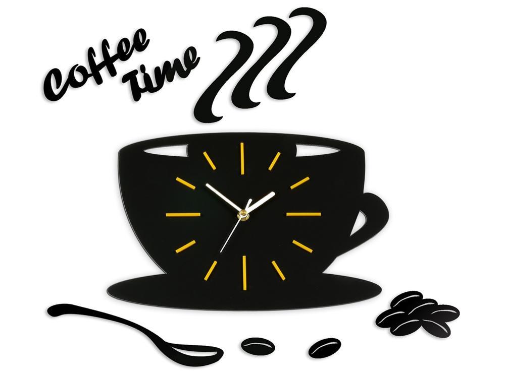 Nástenné hodiny Satin cup čierno-žlté
