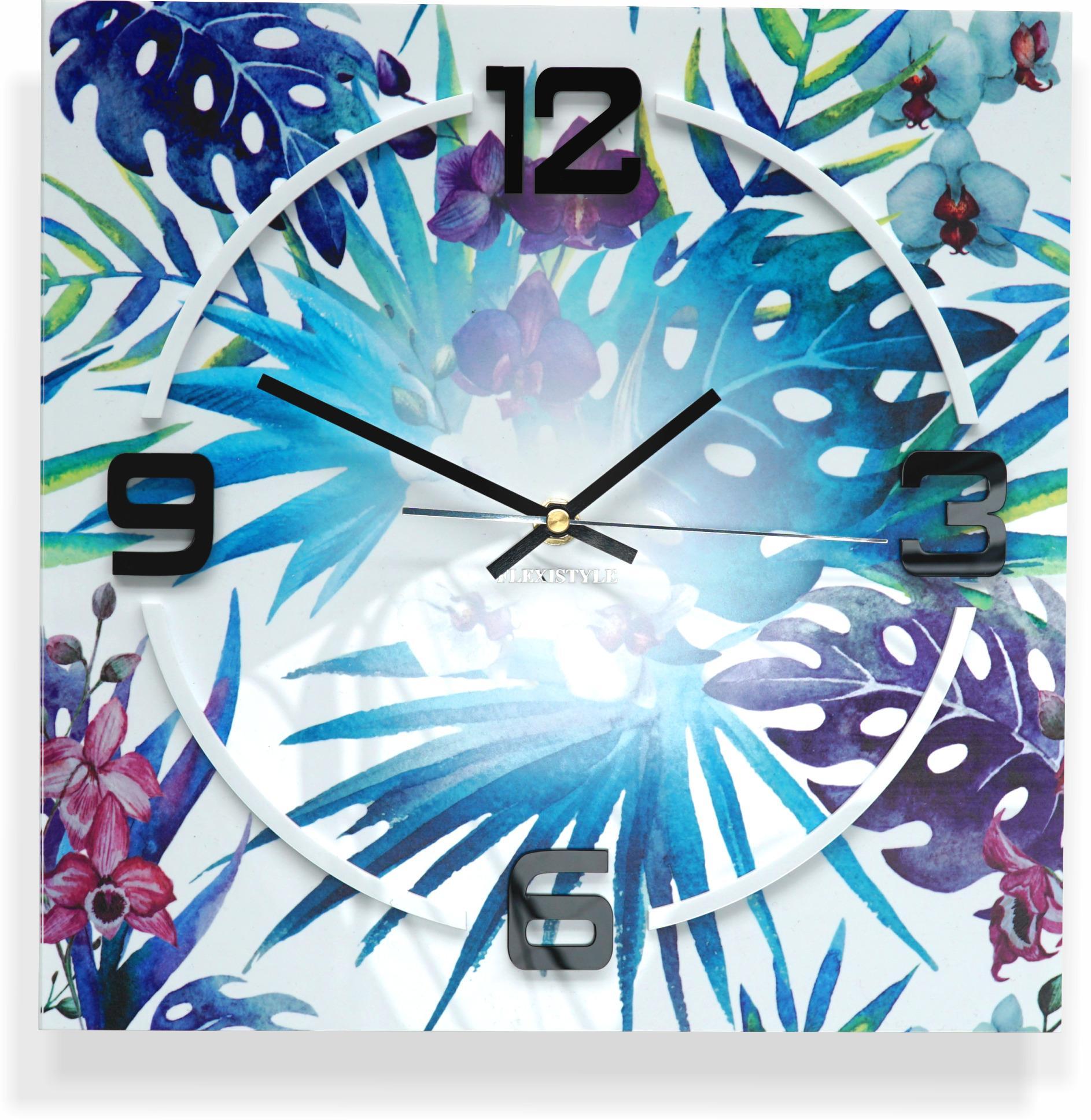 Nástenné hodiny Tropical Monstera Flex z6a-1-0, 30 cm
