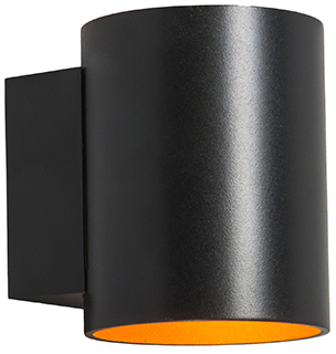 Nástenné svietidlo okrúhle čierne so zlatom - Sola