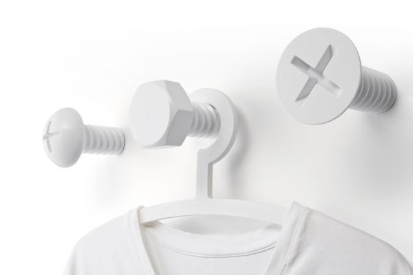 Nástenné vešiaky Qualy Screw Collection, biele
