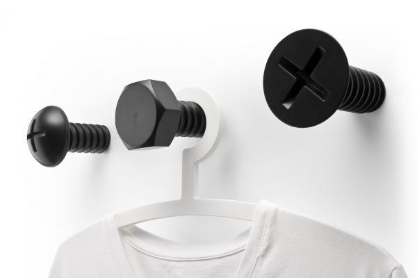 Nástenné vešiaky Qualy Screw Collection, čierna