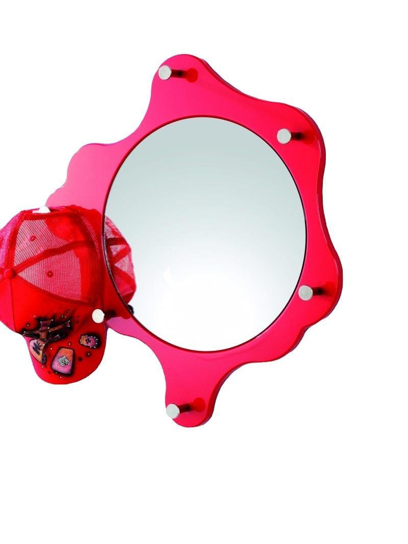 Nástenné zrkadlo Avenus, chróm/červená