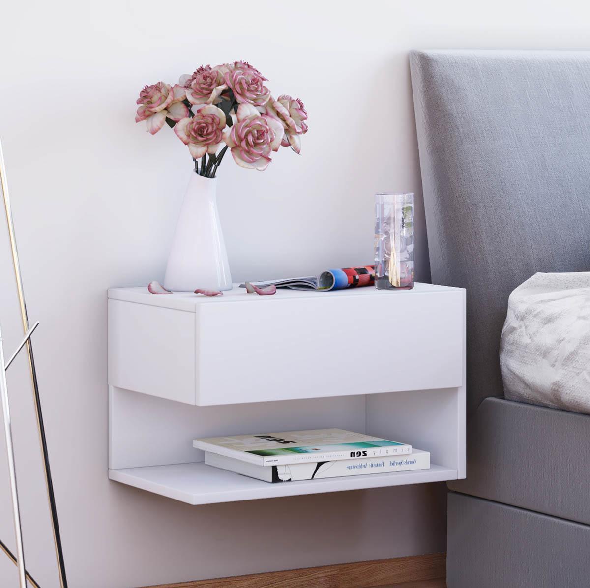 Nástenný nočný stolík Dormal, biely