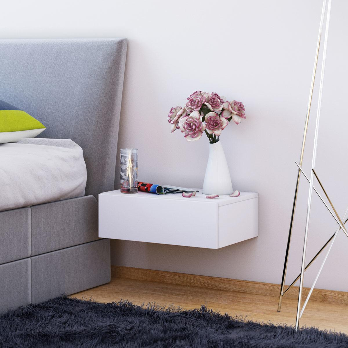 Nástenný nočný stolík Dormas, biely