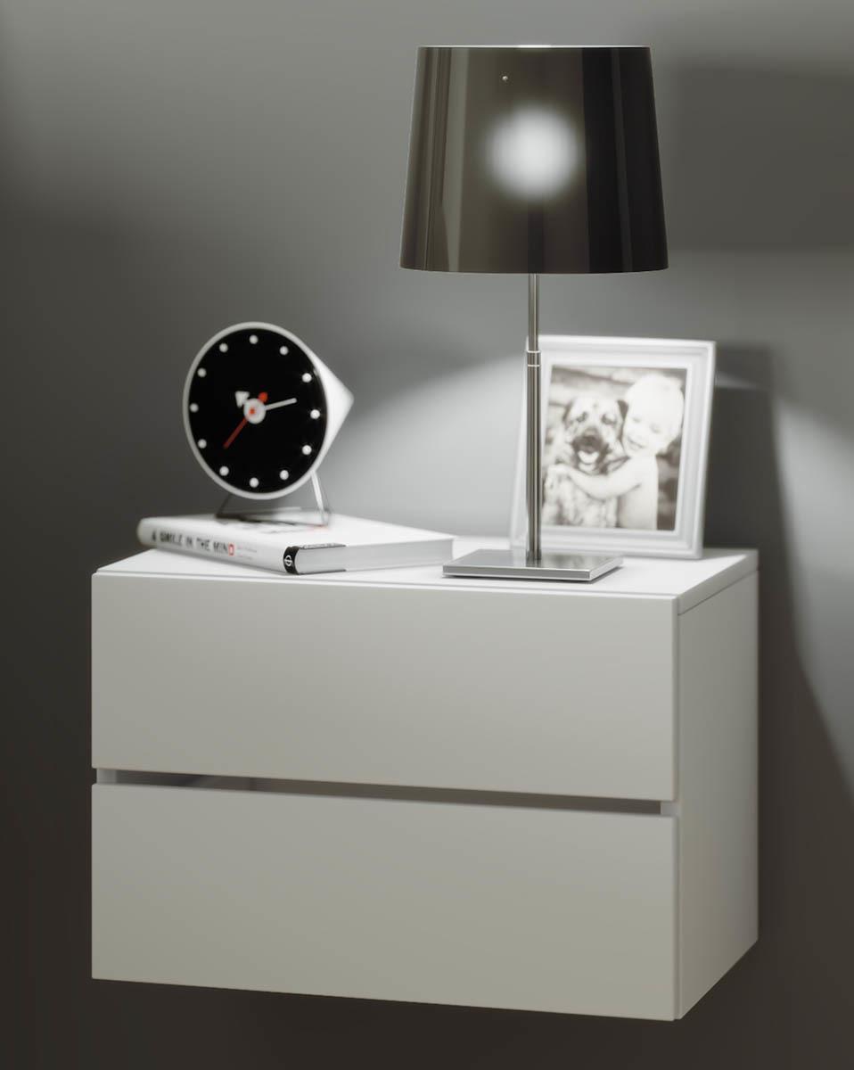 Nástenný nočný stolík Suda, biely
