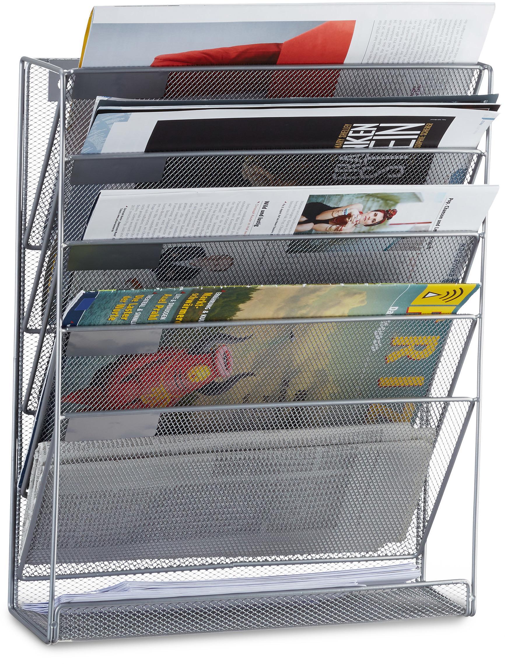 Nástenný stojan na noviny a časopisy, strieborný RD2508