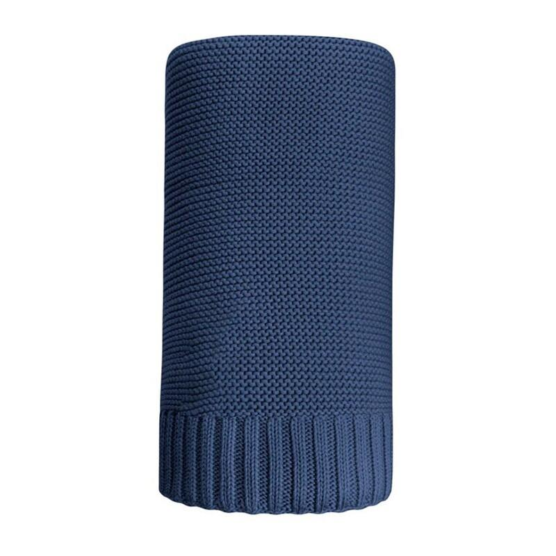 NEW BABY - Bambusová pletená deka 100x80 cm tmavo modrá