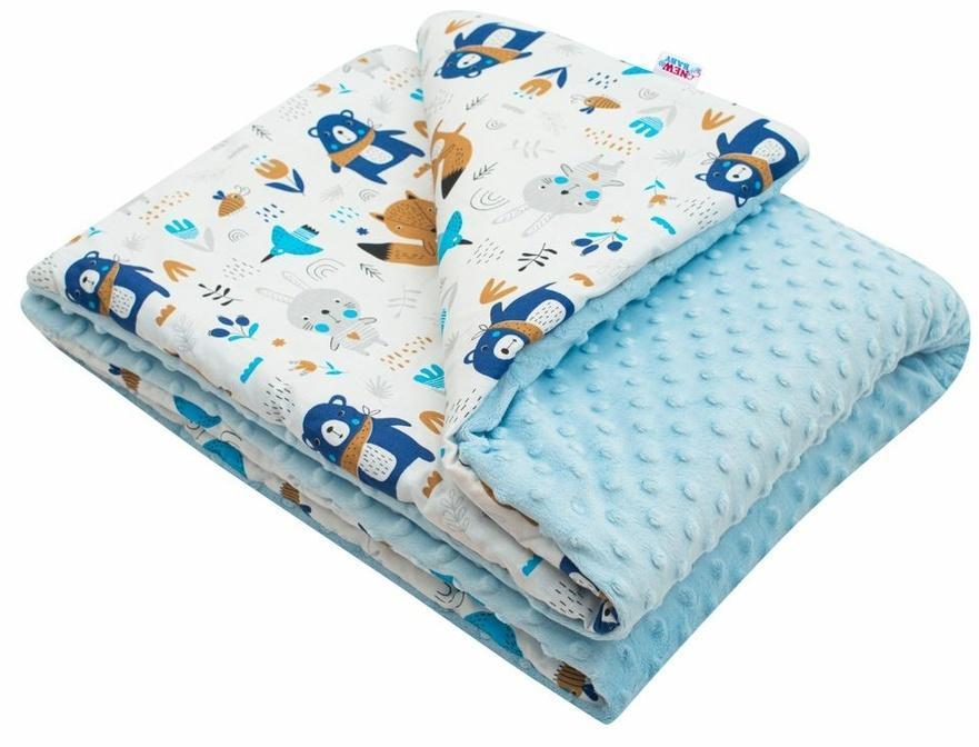 New Baby Detská deka z Minky Medvedíci modrá, 80 x 102 cm