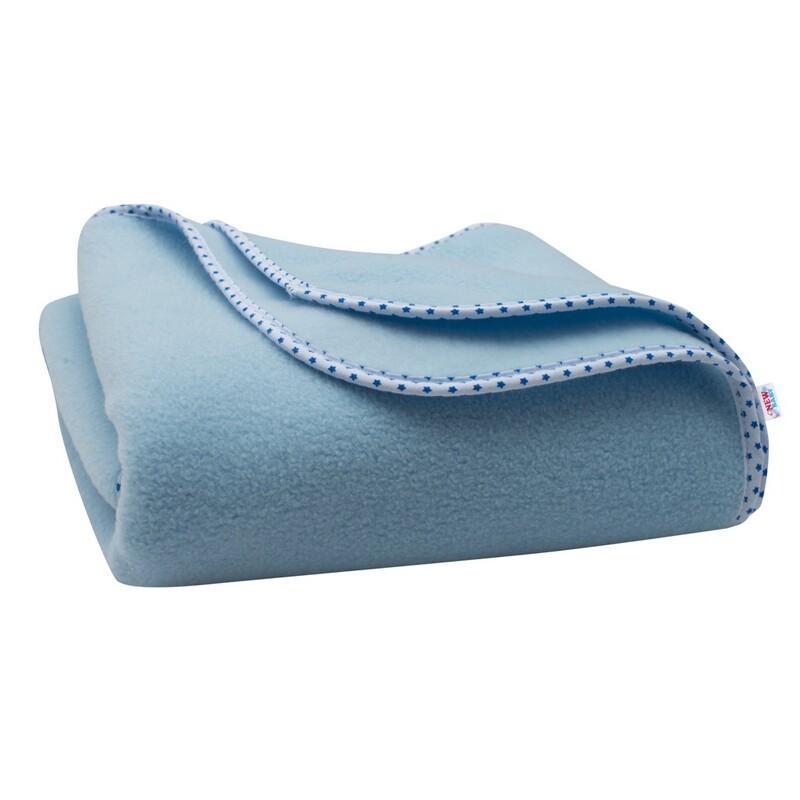NEW BABY - Detská fleecová deka 100x75 modrá hviezdičky