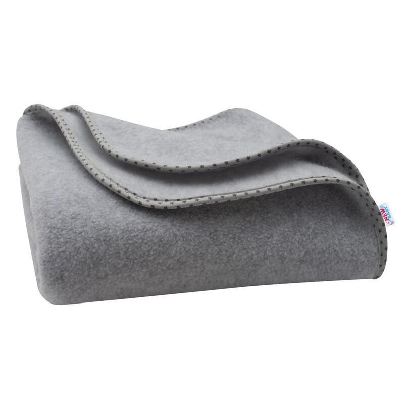 NEW BABY - Detská fleecová deka 100x75 sivá hviezdičky