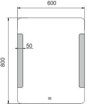 NIMCO Ľad zrkadlo zrkadlo LED 600x800 rám hliníkový ZP 18002V ZP 18002V