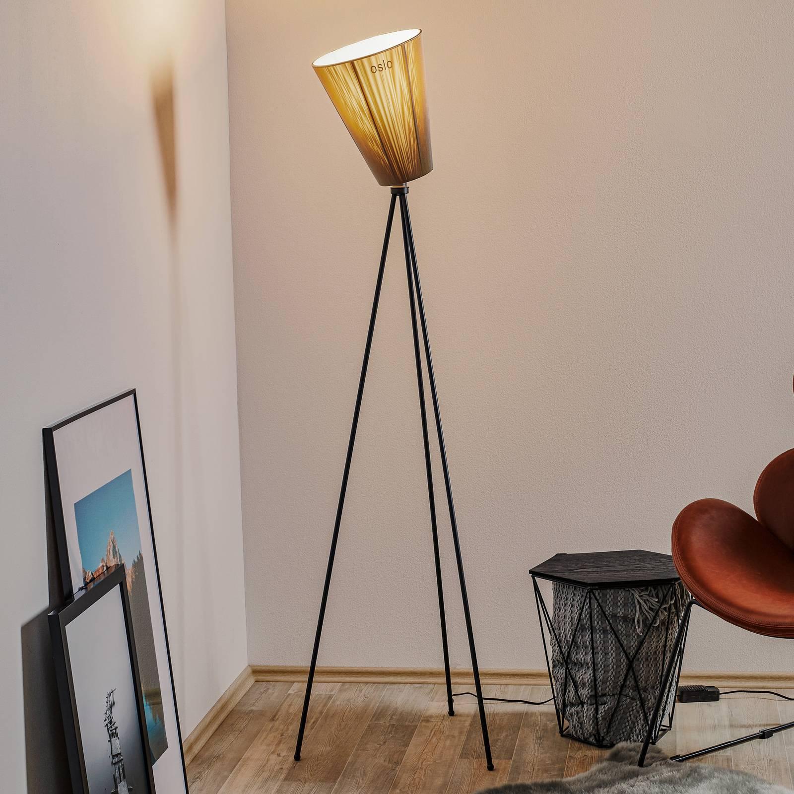 Northern Northern Oslo Wood stojaca lampa čierna/béžová