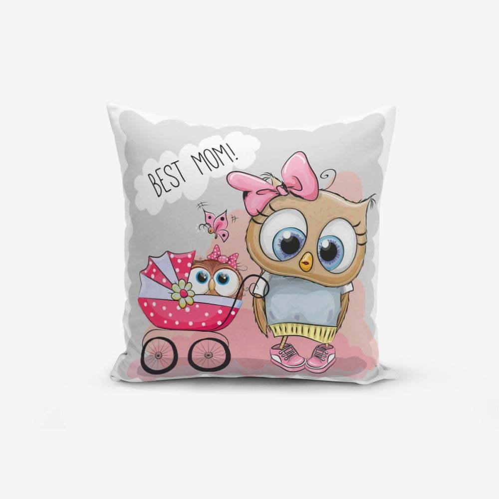 Obliečka na vaknúš s prímesou bavlny Minimalist Cushion Covers Best Mom Owl, 45 × 45 cm