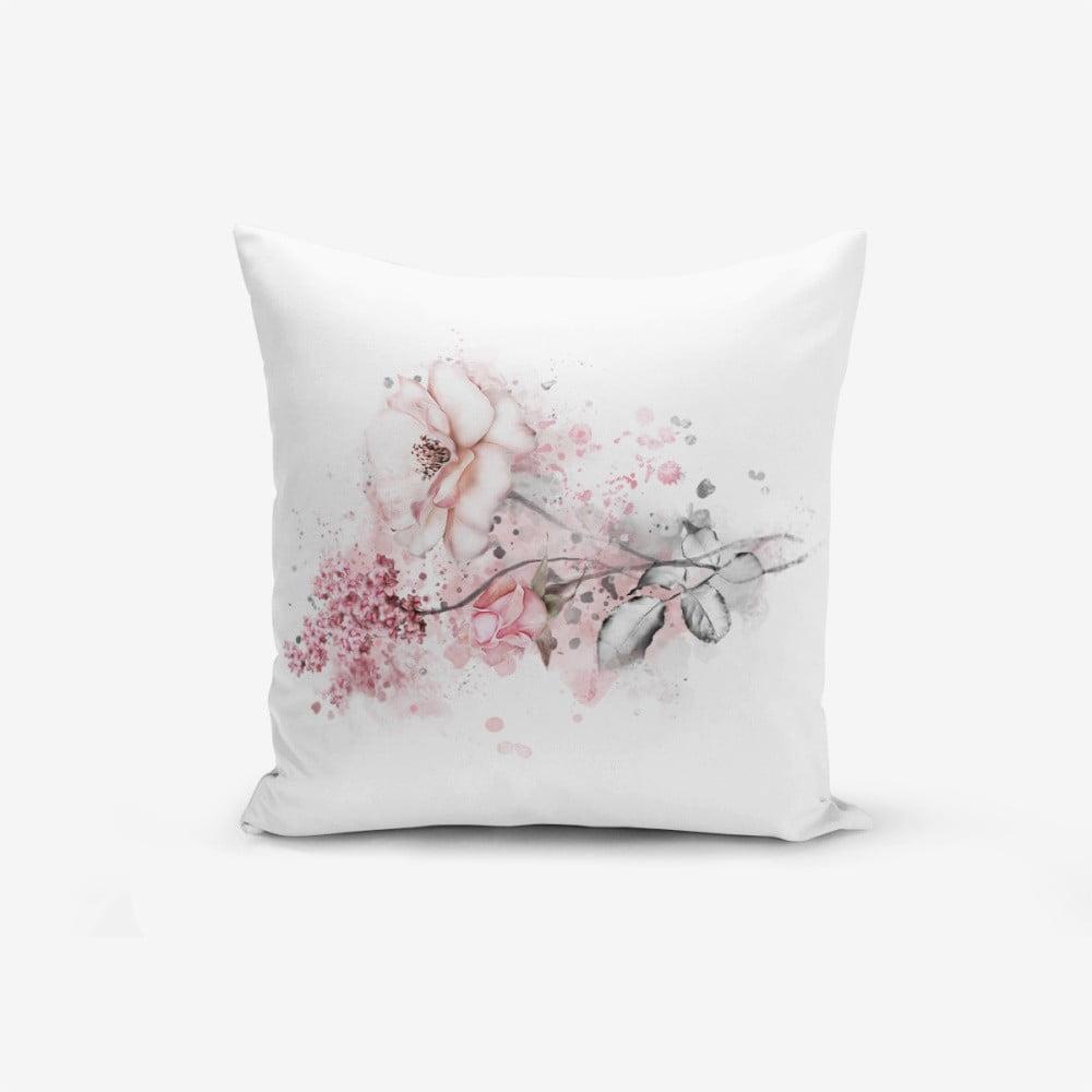 Obliečka na vankúš s prímesou bavlny Minimalist Cushion Covers Ogea Flower Leaf, 45 × 45 cm