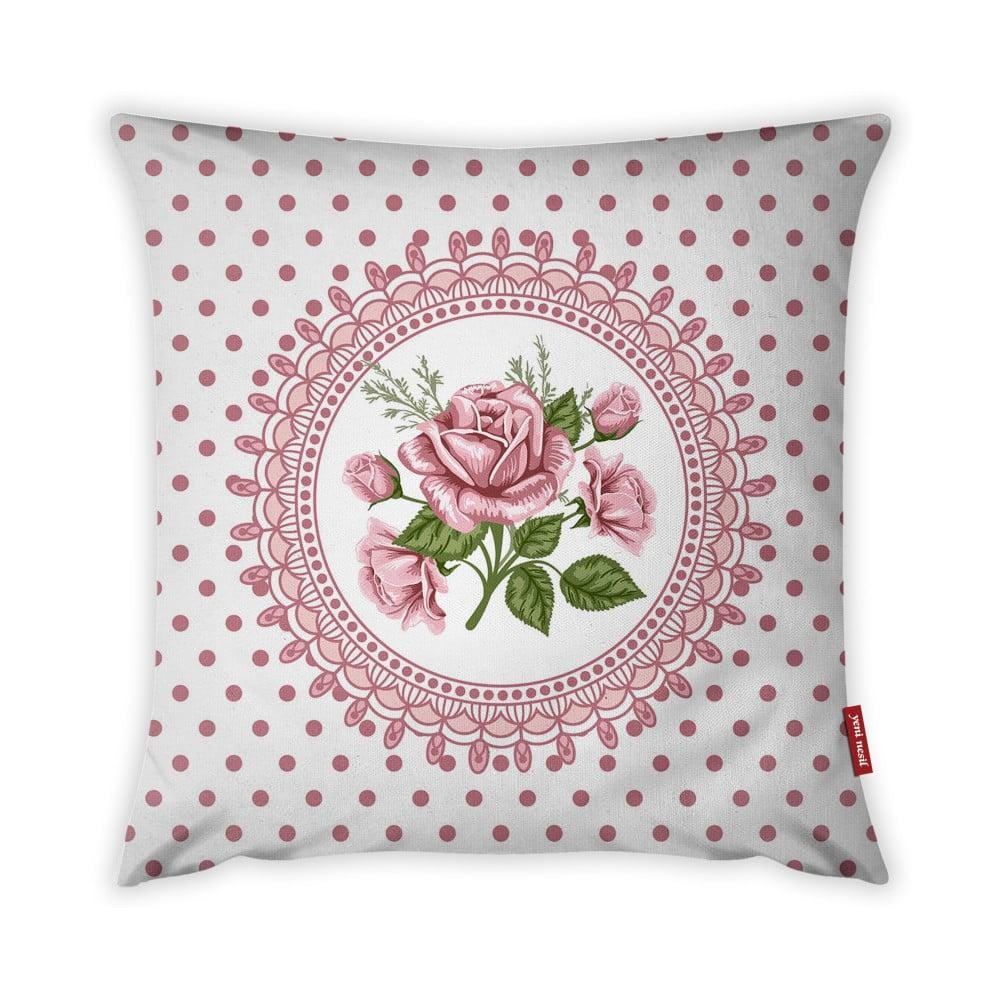 Obliečka na vankúš Vitaus Rustic Vintage Rosa Tres, 43 × 43 cm