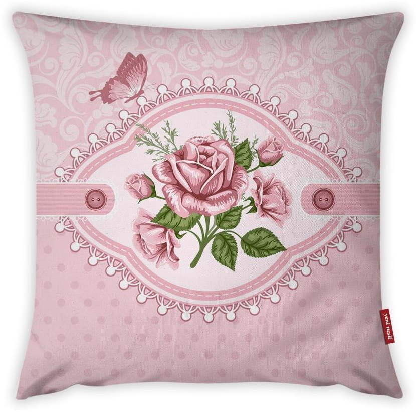 Obliečka na vankúš Vitaus Rustic Vintage Rosa Uno, 43 × 43 cm
