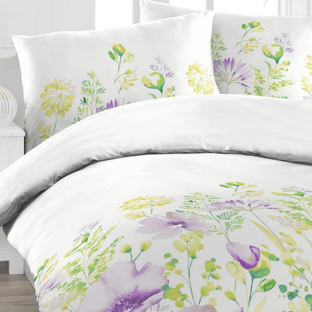 Obliečky Mina lila 140x200 jednolôžko - štandard Bavlnený satén