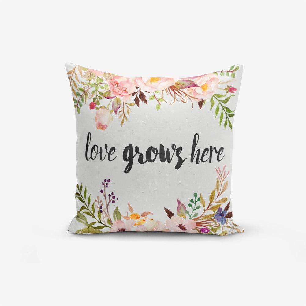 Obliečka na vankúš s prímesou bavlny Minimalist Cushion Covers Love Grows Here, 45 × 45 cm