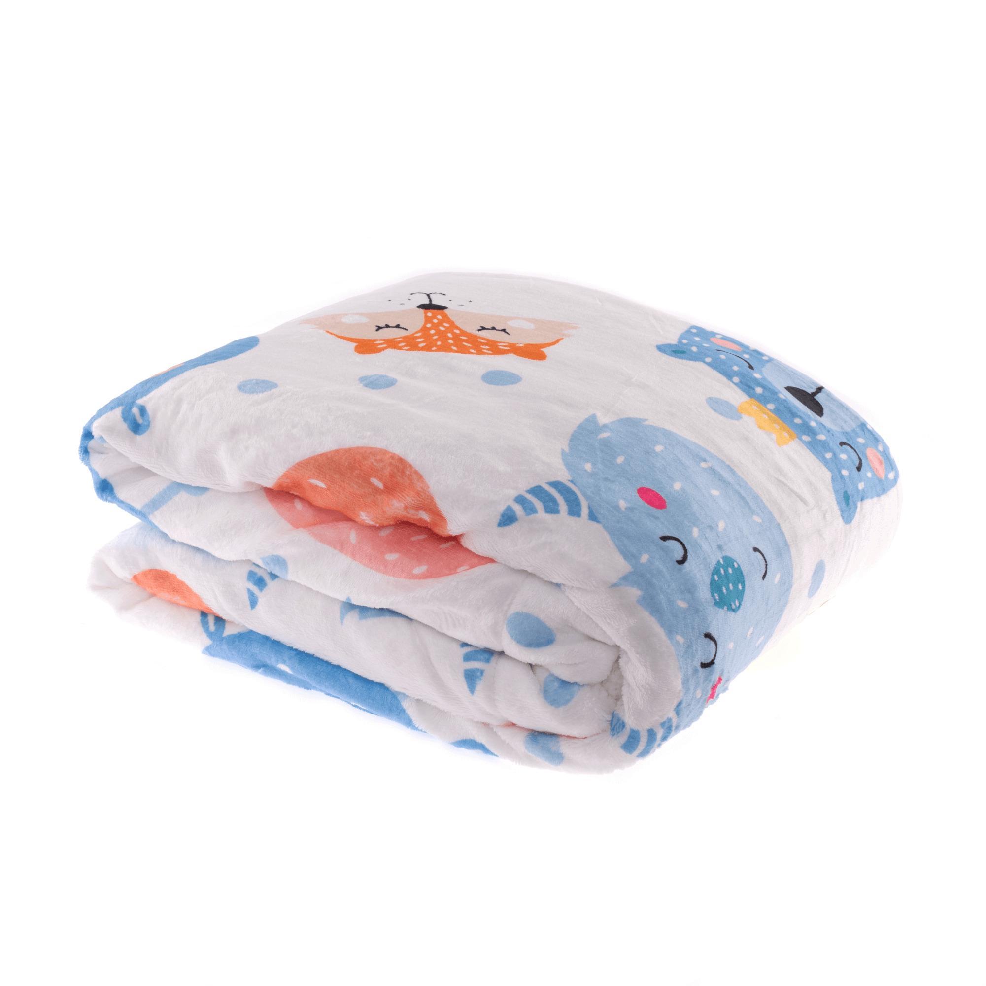 Obojstranná baránková deka, biela/detský vzor, 150x200cm, MIDAS TYP2