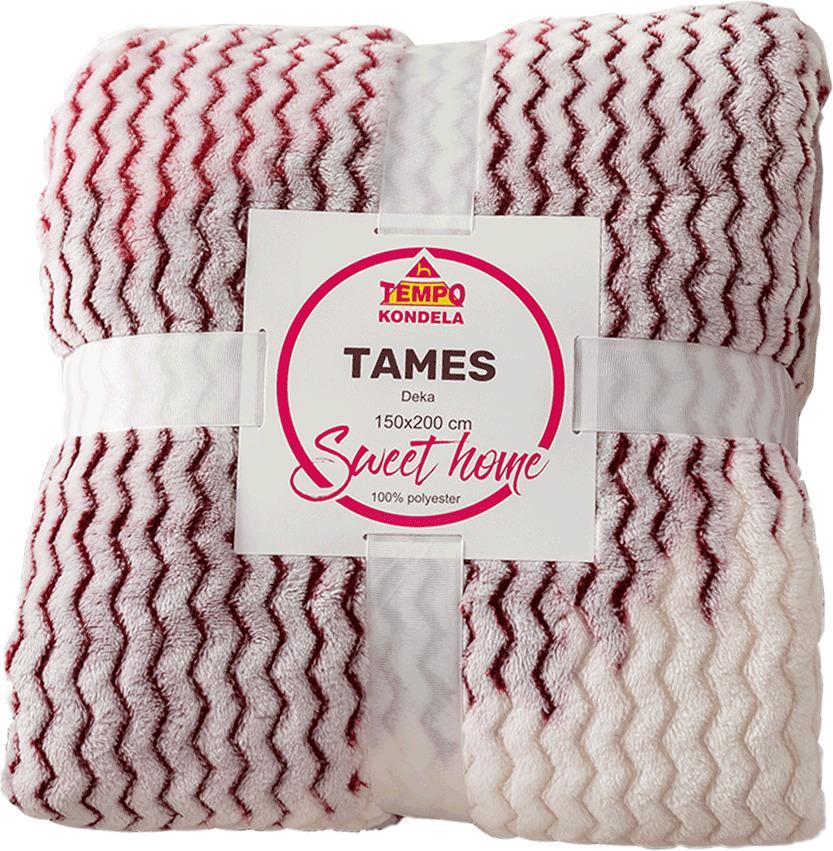 Obojstranná baránková deka, biela, farebný vzor, 150x200, TAMES