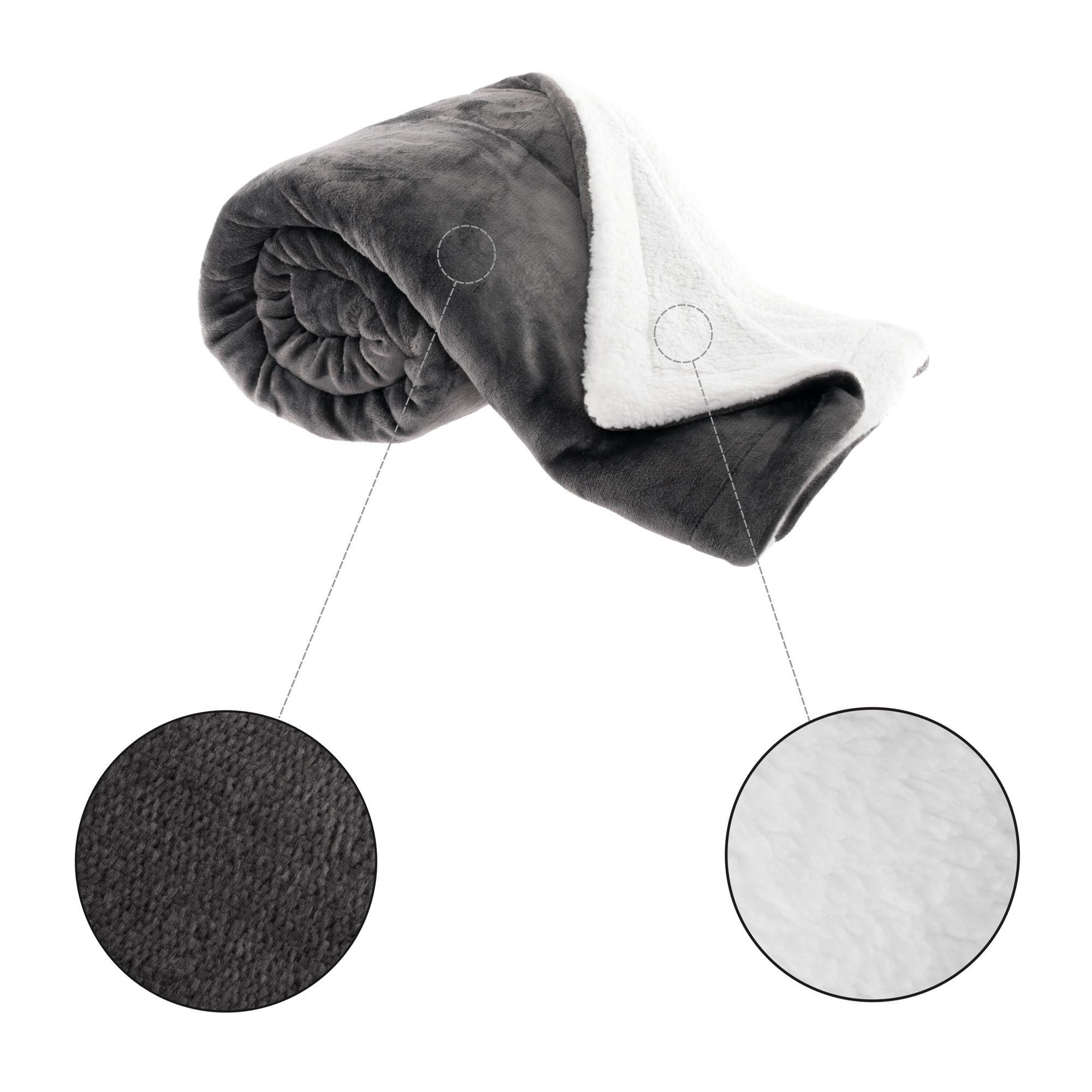 Obojstranná baránková deka, sivohnedá taupe/biela, 150x200cm, ABELE