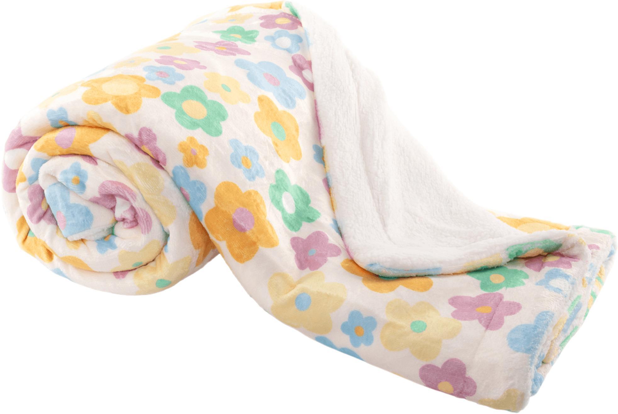 Obojstranná baránková deka, smotanová/vzor kvety, 150x200cm, ARDLE TYP1