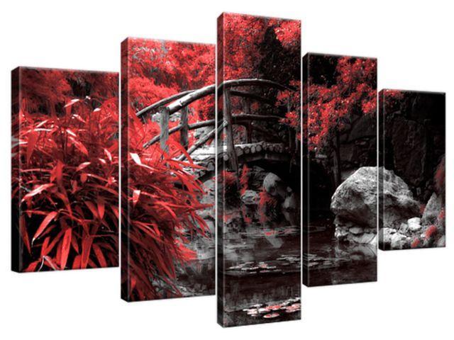 Obraz na plátne Červená Japonská záhrada 100x63cm 2541A_5D