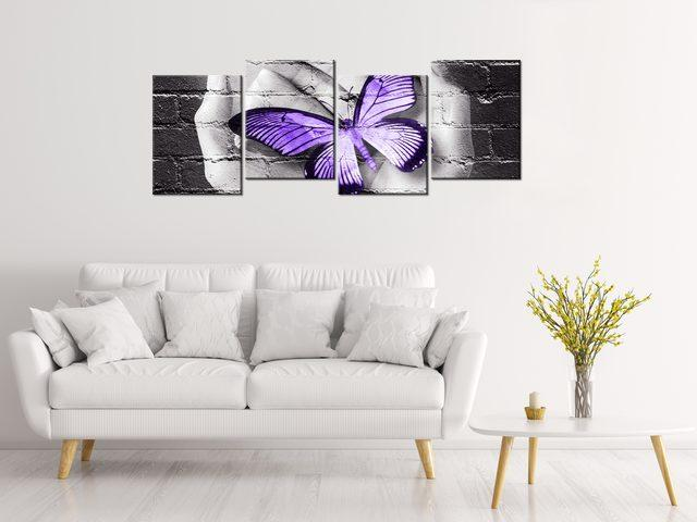 Obraz na plátne Fialový motýľ na dlaniach 120x45cm 2389A_4AS