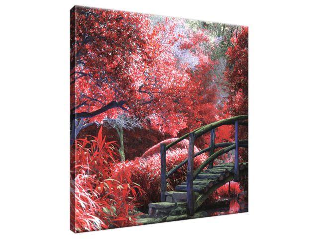 Obraz na plátne Japonská záhrada do červena 30x30cm 2545A_1AI