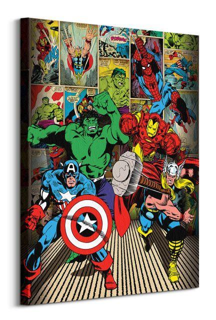 Obraz na plátne Marvel Comics Here Come The Heroes 60x80cm WDC90821
