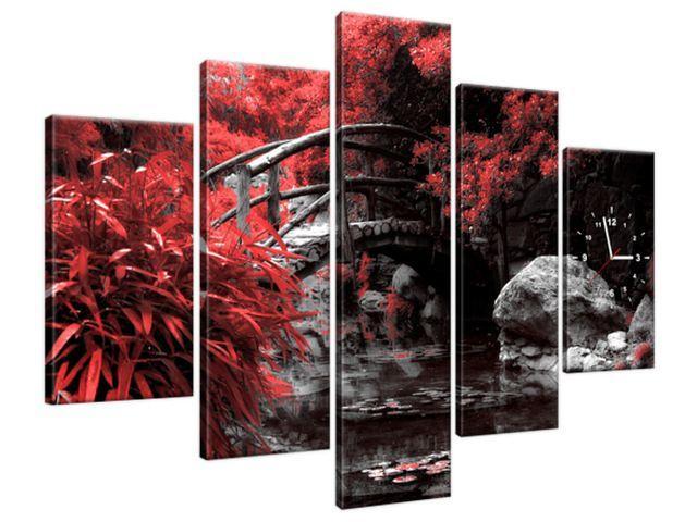 Obraz s hodinami Červená Japonská záhrada 150x105cm ZP2541A_5H