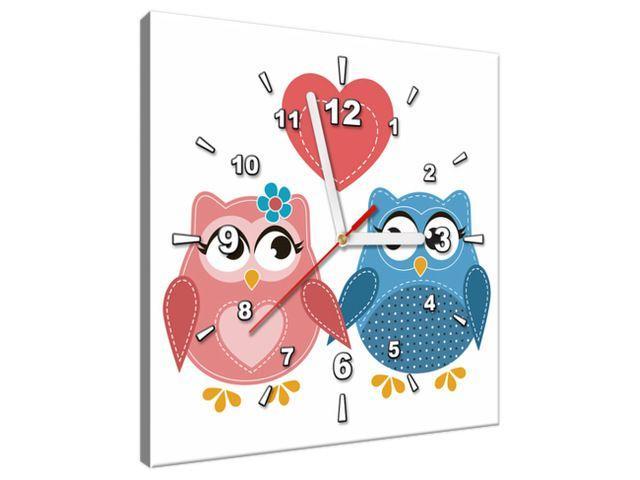 Obraz s hodinami Dve zamilované sovičky 30x30cm ZP3129A_1AI