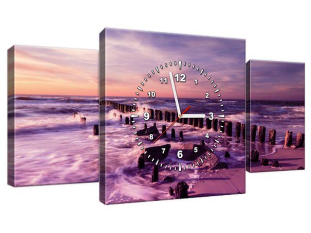 Obraz s hodinami Krásny fialový západ slnka 80x40cm ZP3124A_3AX