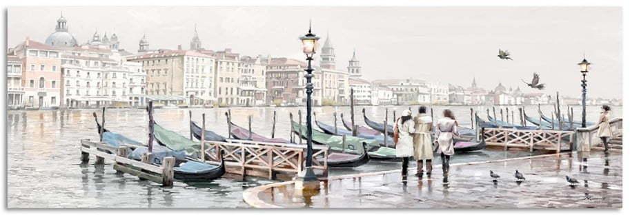 Obraz Styler Canvas Watercolor Venezia Gondole, 45 × 140 cm